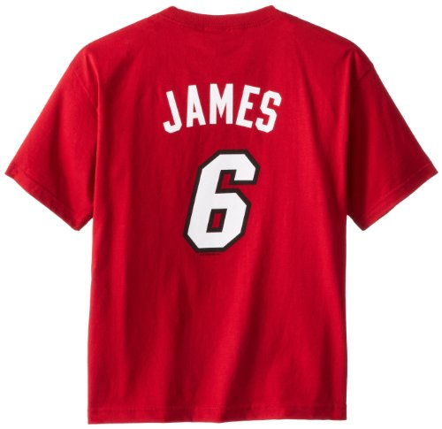 NBA Boys' Miami Heat Lebron James S/S Player Name And Number Tee (Red)