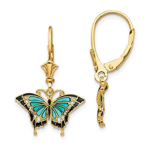 Yellow Gold Enamel Butterfly Earrings - 14kt Yellow Gold Butterfly Blue Enamel Leverback Earrings Lever Back Animal Fine Jewelry For Women Gift Set