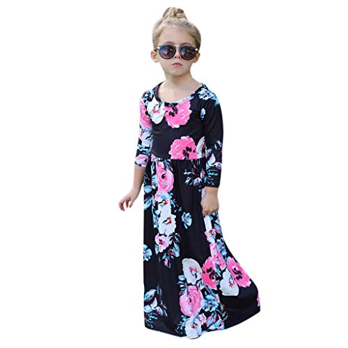 Toddler Baby Girl 3/4 Sleeve Floral Pleated Casual Princess Long Maxi Dress Black