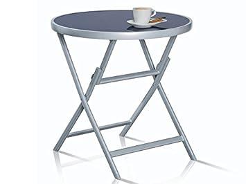 Florabest Table en verre table pliante en aluminium Table d ...
