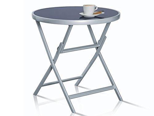 Aluminio, mesa de aluminio y cristal plegable, mesa auxiliar redonda de aprox. 70 cm de diametro. Altura: aprox. 71 cm.