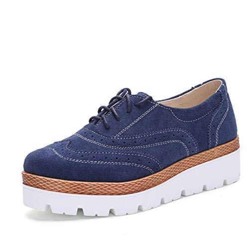 UNN Women Slip On Platform Suede Penny Loafers High Heel Wedge Moccasins Walking Sneakers Blue41