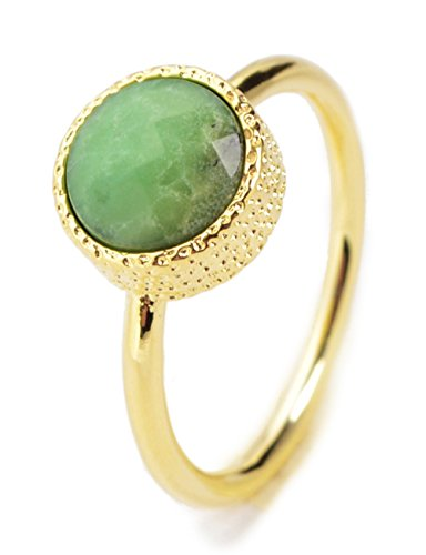 ZENGORI Handmade Gold Plated Bezel Round Natural Australia Jade Faceted Ring Size - Delivery To Free Australia