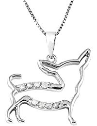 """Sterling Silver 1/10cttw Natural Round-Cut Diamond (J-K Color, I2-I3 Clarity) Chihuahua Pendant-Necklace, 18"""""""