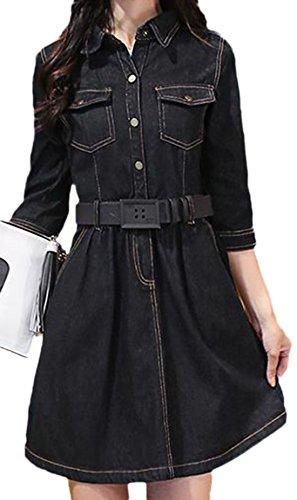erdbeerloft - Damen Kurzes Tailliertes Jeanskleid, XS-XL