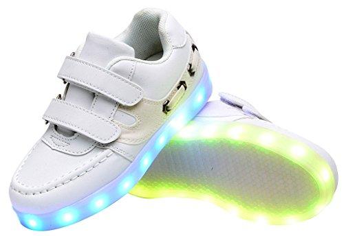Odema Zapatillas de Luz LED Colores Unisex para Ninos Blanco