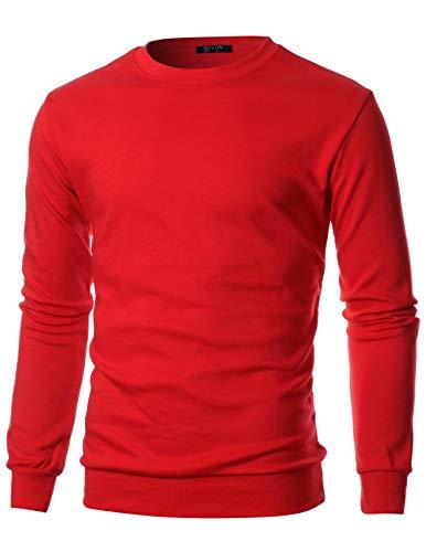 GIVON Mens Slim Fit Lightweight Crew Neck Sweatshirt/DCS006-RED-M ()