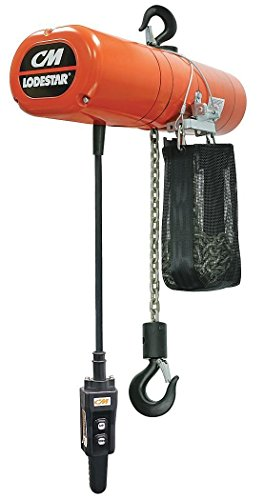 CM ShopStar Electric Chain Hoist, Three Phase, Hook Mount, 1/2 Ton Capacity, 10' Lift, 12 fpm Max Lift Speed, 0.167 HP, 7/8