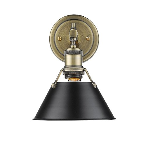 Golden Lighting Orwell AB 1 Light Bath Vanity in Aged Brass Black Shade