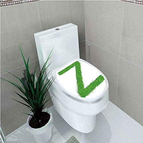 Toilet Custom Sticker,Letter Z,Spring Capital Z Made Out of Grass Ladybug Butterfly Daisy Chamomile Flowers Decorative,Green Multicolor,Diversified Design,W12.6