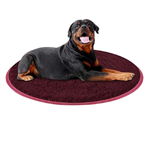 (Barlingrock Small Dog Cat Puppy Bed, Round Shape Self Warming Portable Indoor Soft Warm Comfortable and Washable Pet Dog Puppy Cat Kennel Pad Bed Cushion Coral Fleece Mat Blanket)