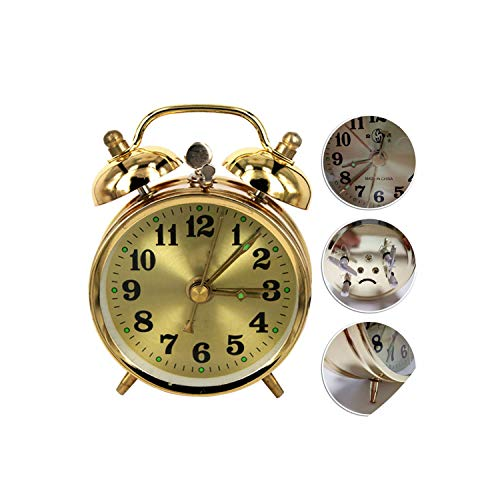 Cute Horseshoe Mechanical Gold Alarm Clock Manual Wind Up Vintage Metal Clock