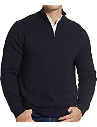 """<span class=""""a-offscreen"""">[Sponsored]</span>Men's Relaxed Fit Solid Quarter Zip Knitted Sweater with YKK Zipper"""