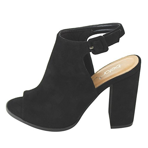 Betani FC68 Womens Ankle Strap Cut Out Back Block Heel Ankle Booties Boots