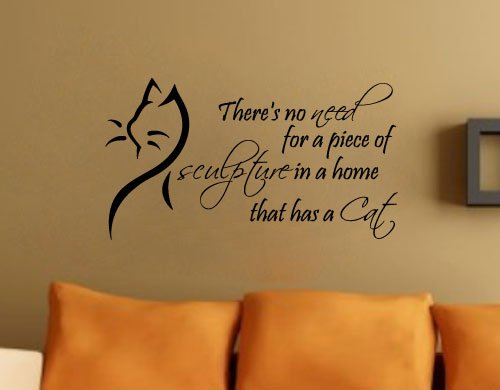 Theres No Need Cat Wall Decal Quote Vinyl Sculpture Pet Sticker - Custom vinyl wall decals cats