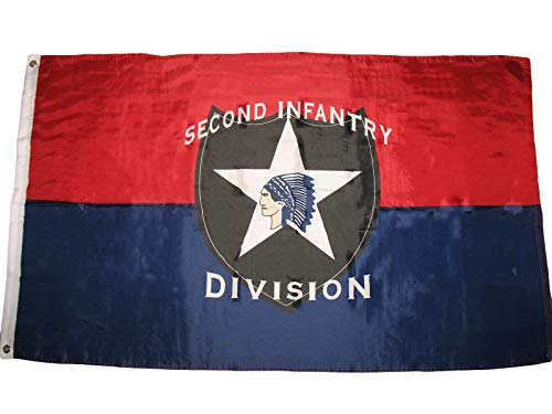 ALBATROS 3 ft x 5 ft Second Infantry Division US Army 2nd Flag Banner Grommets Premium Poly for Home and Parades, Official Party, All Weather Indoors Outdoors