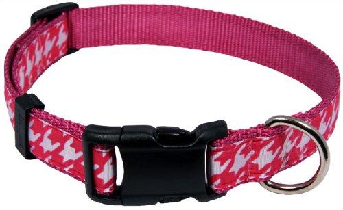 Country Brook DesignDeluxe Shock Pink Houndstooth on Rose Ribbon Dog Collar - Large