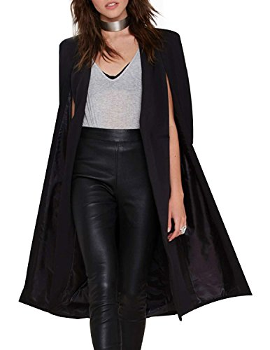 HaoDuoYi Women Casual Open Front Cape Trench Duster Coat Longline Blazer(M,Black) (Trench Satin Jacket)