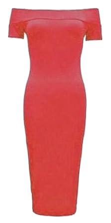 025e9217f36da NEW WOMEN MICHELLE INSPIRED BARDOT MIDI OFF SHOULDER STRETCH BODYCON DRESS  TOP: Amazon.co.uk: Clothing