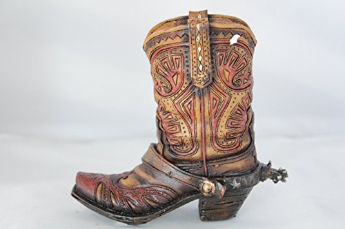 Small Western Rustic Hand Tooled Flower Spur Cowboy Cowgirl Boot Vase Pen Holder Rustic Spur