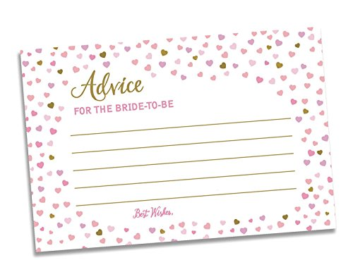 50 Advice for The Bride-to-Be - Bridal Shower - Wedding - Pink Heart (50-Cards) -