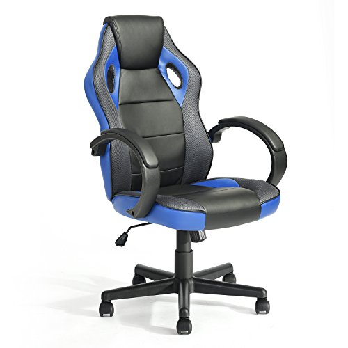 GreenForest Gaming Chair Height Adjustable Computer Office Chair Ergonomic Swivel Chair with Armrest PU Leather Seat High Back Video Chair for Home Office, Blue