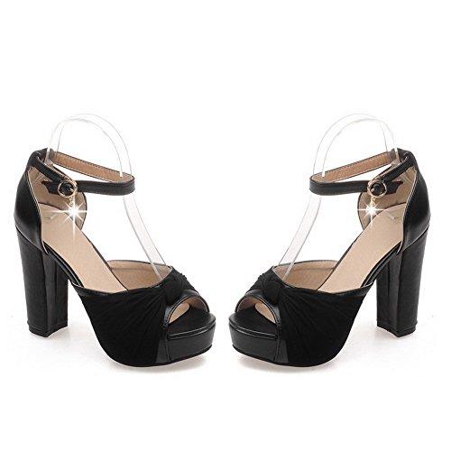 AmoonyFashion Womens Peep Toe High Heels Solid Buckle Sandals Black qmwRH