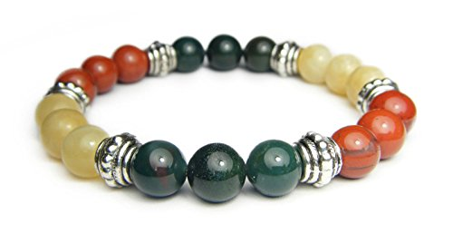 41OFGTrOw L - ANXIETY TAMER 8mm Crystal Gemstone Intention Bracelet - Bloodstone, Calcite, & Jasper