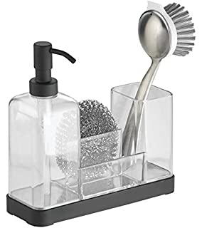 MDesign Kitchen Soap Dispenser Pump, Sponge, Scrubby And Dish Brush Caddy  Organizer   Clear