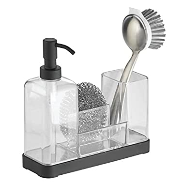 mDesign Modern Plastic Kitchen Sink Countertop Liquid Dish Soap Dispenser Pump Bottle Caddy with Storage Compartments - Holds and Stores Sponges, Scrubbers and Brushes - Clear/Matte Black