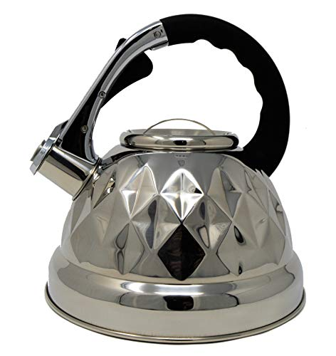 Black Whistling Tea Kettle Pot - Aviation Grade Stainless Steel For All Stovetops With Layered Capsule Bottom For Faster Water Boiling When Preparing English Tea or Coffee, 3.2 Liters (Let Not The Pot Call The Kettle Black)