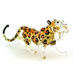 Lampwork COLLECTIBLE MINIATURE HAND BLOWN Art GLASS Cheetah Tiger, size S FIGURINE