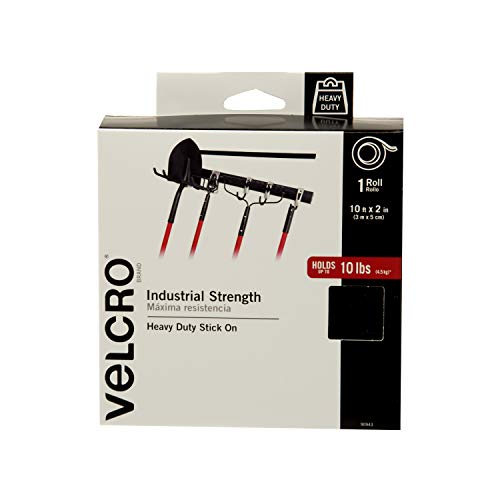 VELCRO Brand Industrial Strength Fasteners | Stick-On Adhesive | Professional Grade Heavy Duty Strength Holds up to 10 lbs on Smooth Surfaces | Indoor Outdoor Use | 10ft x 2in Tape, Black