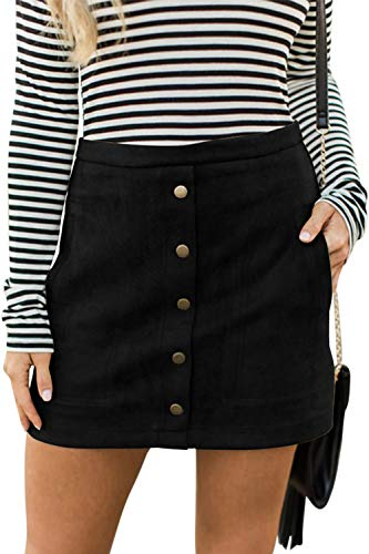 Meyeeka Womens Plain A-Line Mini Skirt Faux Suedette Button Down Clubwear with Pocket XL Black