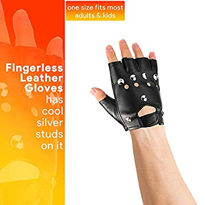 Skeleteen Gothic Fingerless Biker Gloves - 80s Style Black Leather Punk Biker Gloves with Studs for Men Women and Kids: Clothing