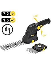 TECCPO Grass Shears, Cordless 2-in-1 Compact Hedge Trimmer and Garden Shears Combo with 7.2V Lithium-Ion Battery and USB Charger, Pivoting Handle- TDGS03G