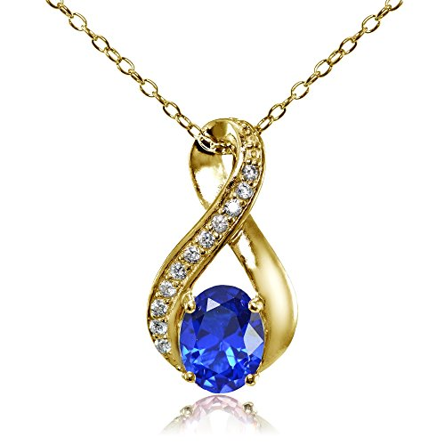 Yellow Gold Flashed Sterling Silver Simulated Blue Sapphire Oval Infinity and CZ Accents Necklace