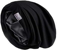 YANIBEST Hair Cover Bonnet Satin Sleep Cap - Adjustable Stay on Silk Lined Slouchy Beanie Hat for Night Sleeping …