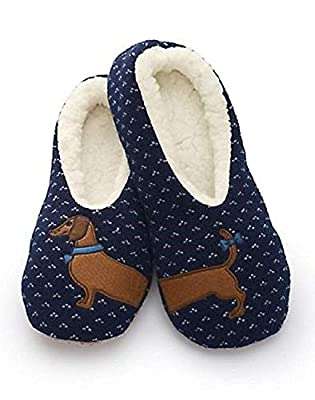 Sherpa Womens Blue Wiener Dog Slippers/Dachsund Slippers