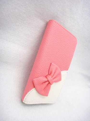 Wallet Bowknot Bow Girl Cute lovely Flip Pouch Cover Card Holder PU Leather Skin Case Cover for T-Mobile ZTE Concord II 2 4G Z730 Pink