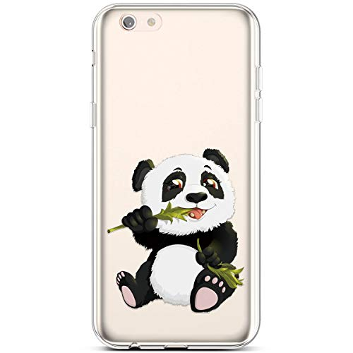 PHEZEN Case for iPhone 6,iPhone 6S Case,Clear Soft Flexible TPU Silicone Case Rubber Skin with Art Painted Design Transparent Shockproof TPU Bumper Protective Case for iPhone 6/6S, Panda
