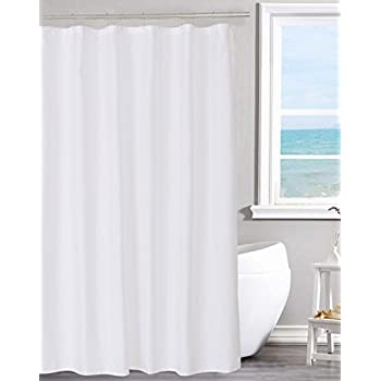 Fabric Shower Curtain Liner Solid White Hotel Quality Mildew Resistant Washable Non Toxic Odorless Spa 70 X 72 Inches For Bathroom