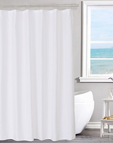 N&Y HOME Fabric Shower Curtain Liner Solid White with Magnets, Hotel Quality, Machine Washable, 70 x 72 inches for Bathroom (One Hole Corner)