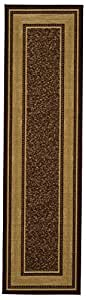 "Ottomanson Ottohome Collection Contemporary Bordered Design Non-Skid (Non-Slip) Rubber Backing Modern Runner Rug, 20"" X 59"", Chocolate Brown"