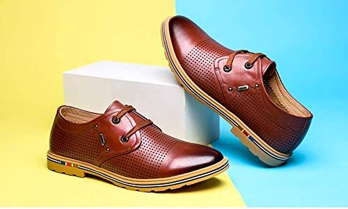 Zapatos Talla 5 cómodos con para Color Casuales tamaño para 5 9 de 9 Azul Color Zapatos Cuero Hombres Azul 8 Cordones de para Holgados Hombres US Marrón UK Hombres HhGold UK 5 5 8 US Vestir HwdA6H