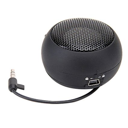 Mini Hamburger Speaker Rechargeable with Extension Cord for MP3 Audio Laptop Cell Phone Tablet PC (Black)