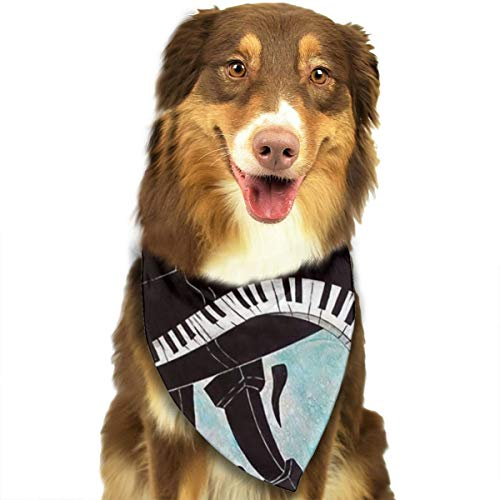 FRTSFLEE Dog Bandana Cool Piano Music Keyboard Painting Scarves Accessories Decoration for Pet Cats and Puppies