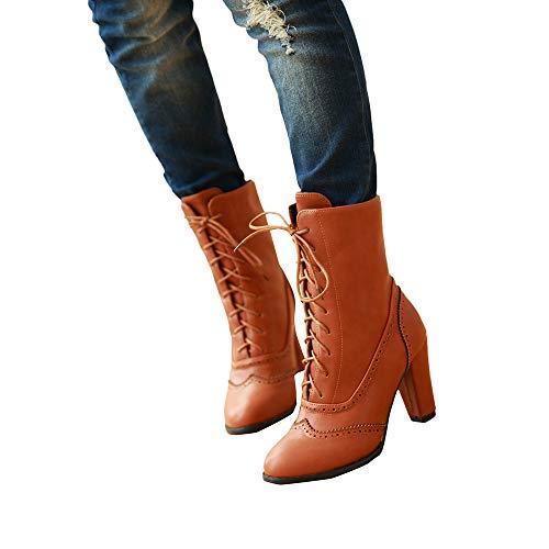 Boot Chunky Chaussures Bottes Boots Talons Neige Jaune Plateforme Cuir Hiver Courtes Lacetschaussures De Femmes subfamily Vintage Bottines w14FgqRx