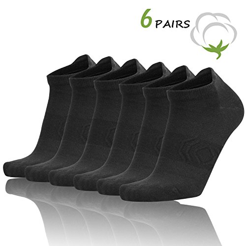 - Zisuper Womens 6 Pack Running No Show Low Cut Socks with Antibacterial, Performance Hidden Athletic Sports Tab Sock