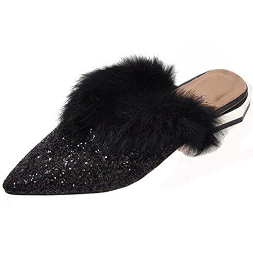 ENMAYER Frauen Glitter Slipper rutschfeste Sandalen mit Keilabsatz warmes Futter Schwarz1